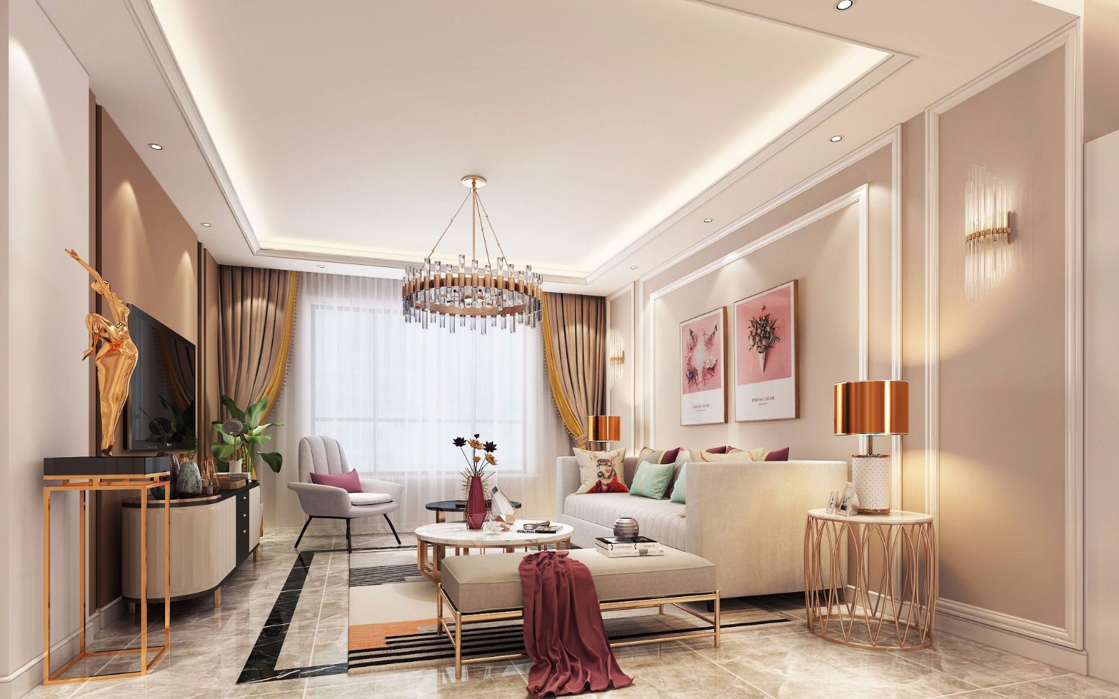 3室1卫1厅145平米现代简约风格