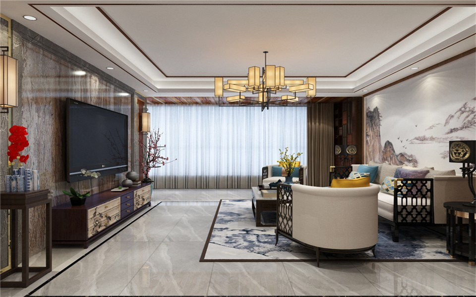 名仕花园140平新中式四居室装修效果图