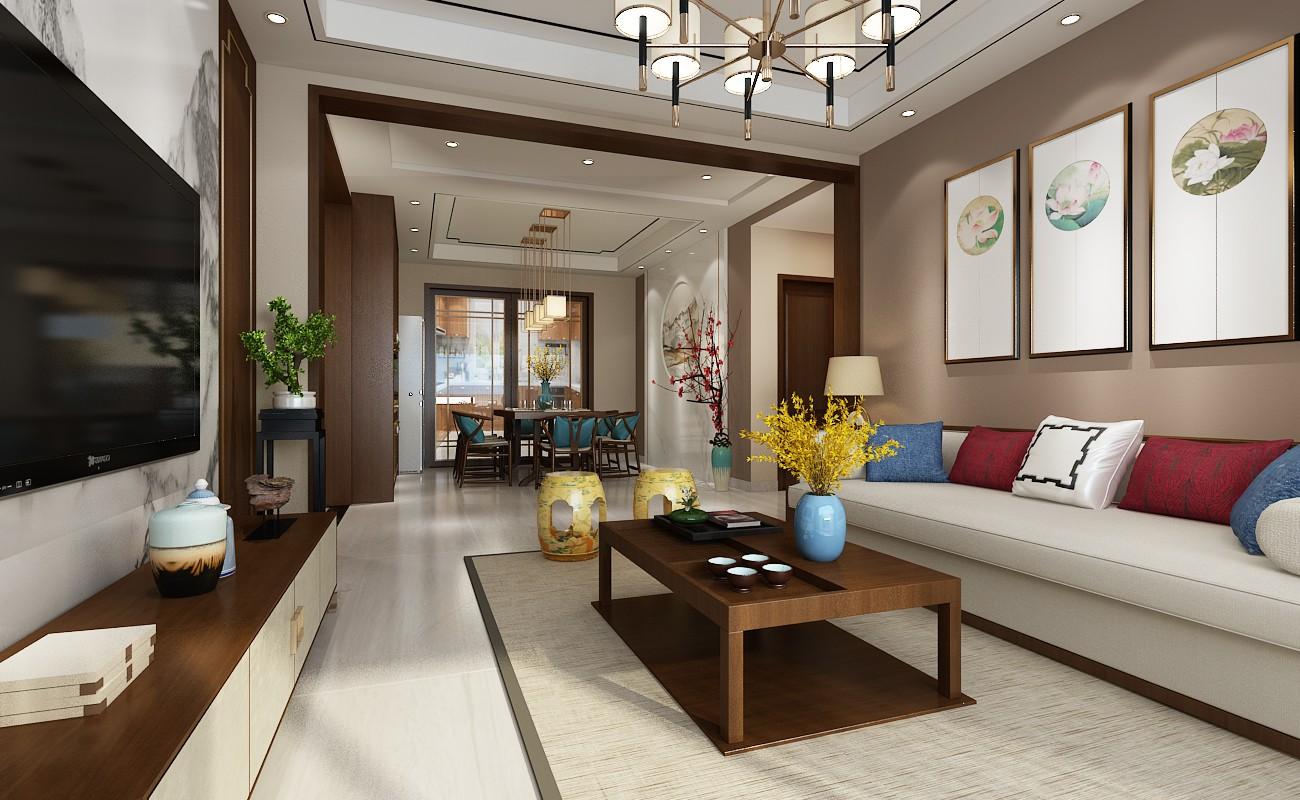 146平三室新中式风格装修效果图