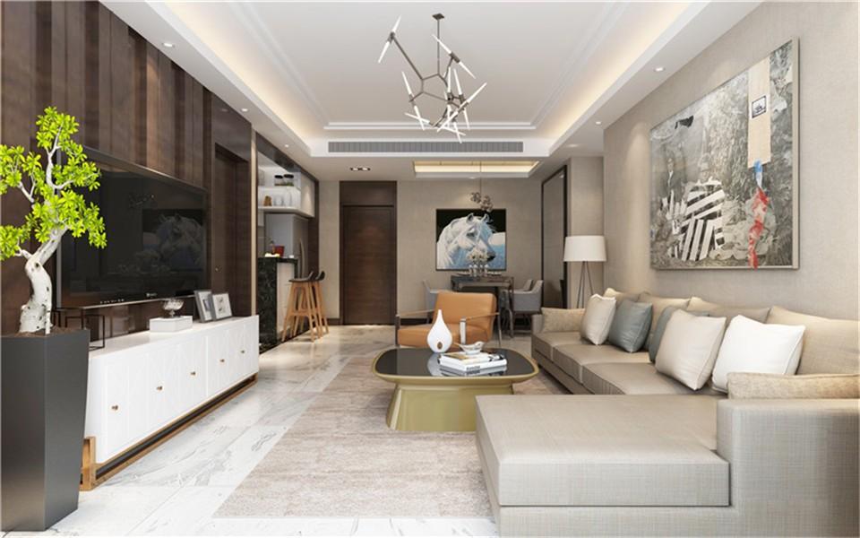 139平三居室现代风格装修效果图