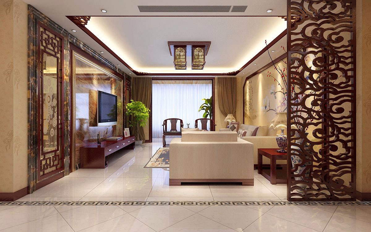 3室2卫1厅120平米中式风格
