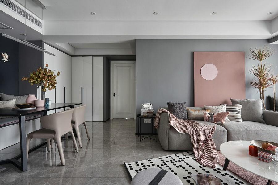 89㎡平层公寓现代简约设计装修效果图