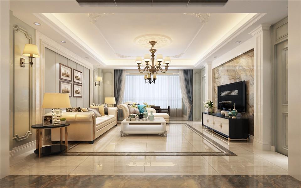 150平三居室美式风格客厅装修效果图