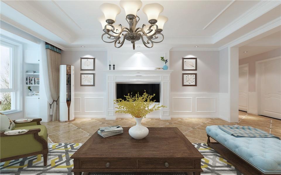138平三居室美式风格装修效果图