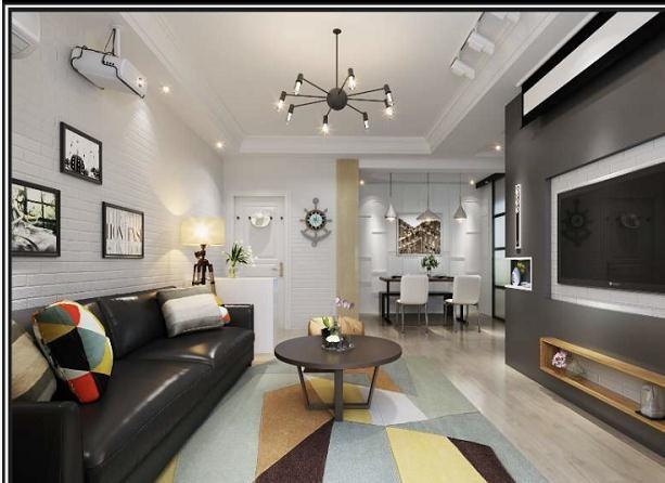 三室宜家风冷色系现代风格装修效果图