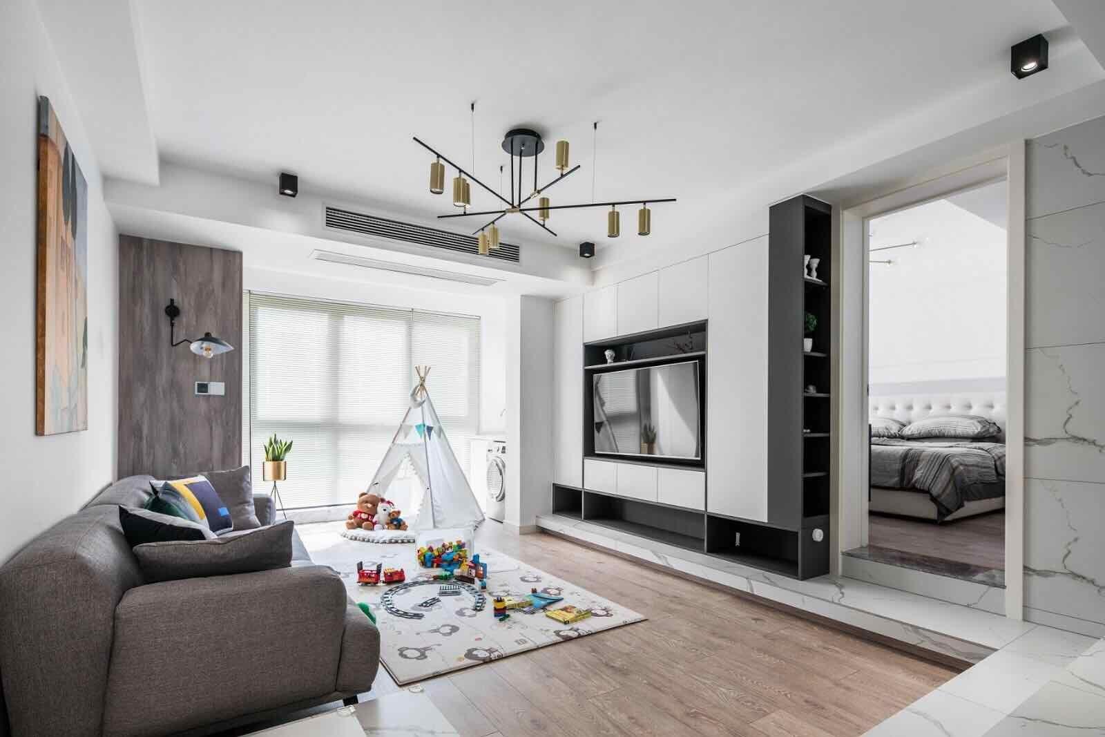 橡树湾113平现代风格三居室客厅装修效果图