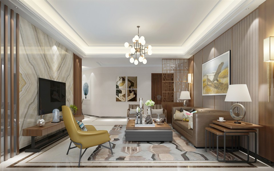 金帝豪园现代风格130平套房客厅效果图