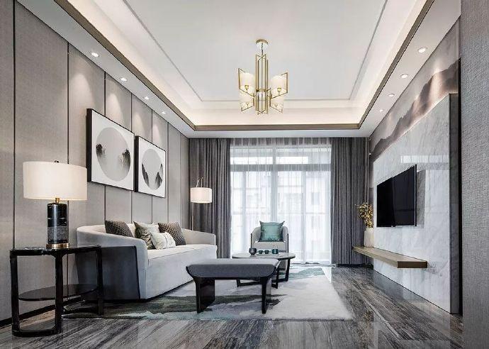 120平现代中式U乐国际三居室客厅优乐娱乐官网欢迎您