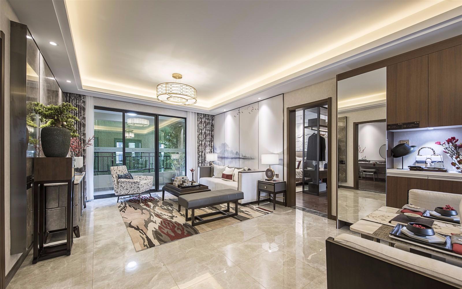136平米新中式风格三居室装修效果图