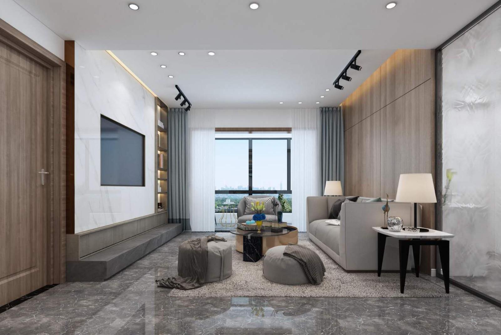113平现代简约风三居室客厅图片欣赏
