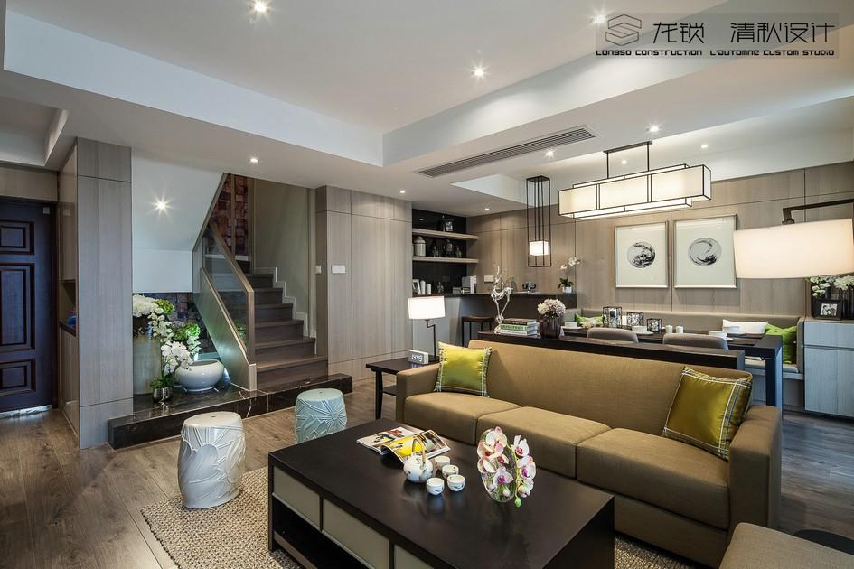 天逸城180平新中式风格复式客厅效果图