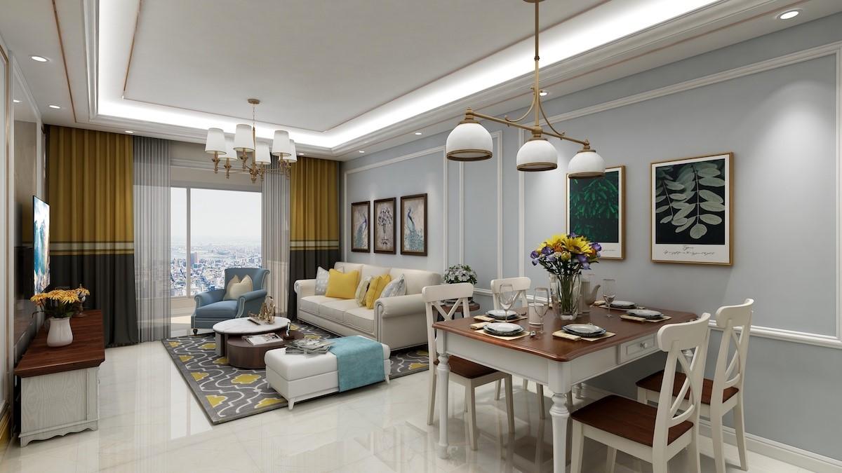 京华海悦95平美式风格2房1厅装修案例