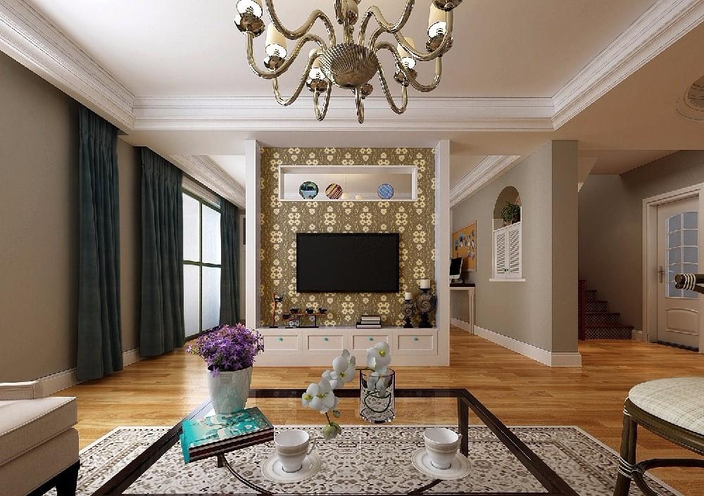 189平美式风格跃层客厅装修效果图