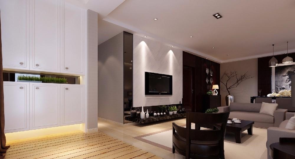 131平现代简约三居室客厅装修效果图