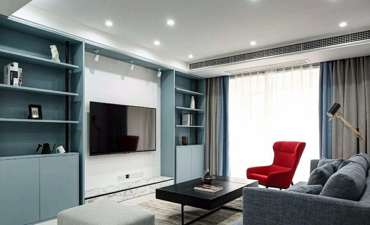120平米现代简约三居室客厅效果图