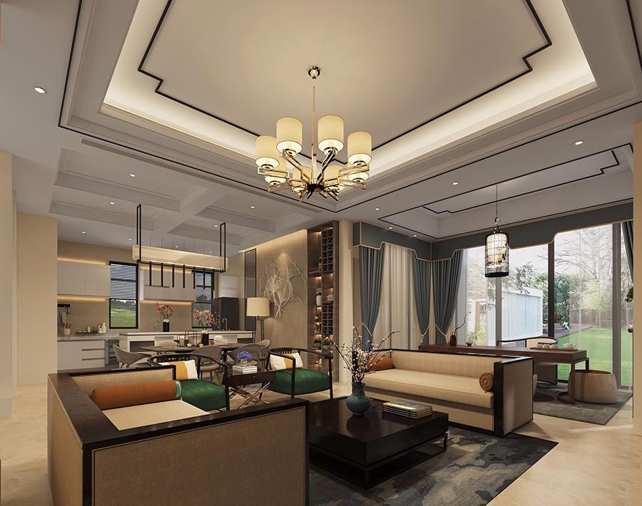 2021现代中式客厅装修设计 2021现代中式窗帘装修效果图片