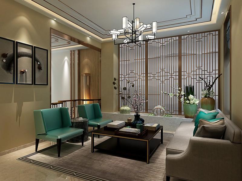 富力城400平新中式風格別墅裝修案例圖