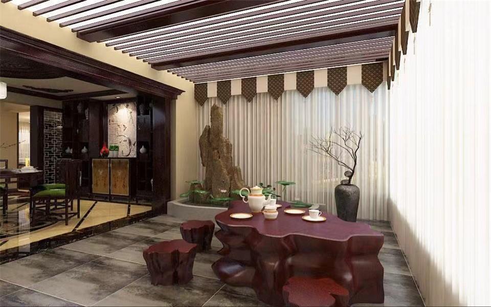 2020中式陽光房設計圖片 2020中式茶幾效果圖