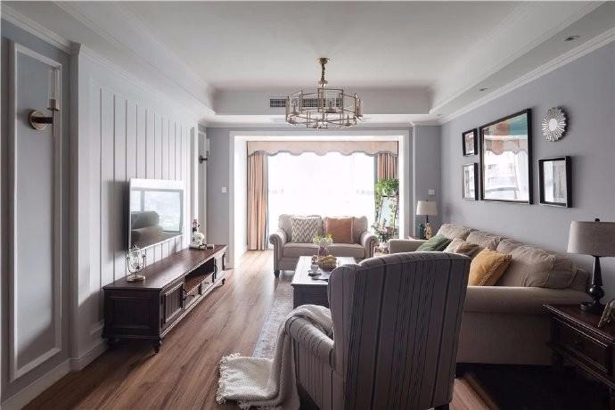 美式風格128平三居室裝修效果圖