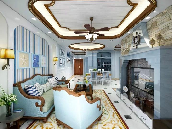 2020地中海90平米裝飾設計 2020地中海樓房圖片