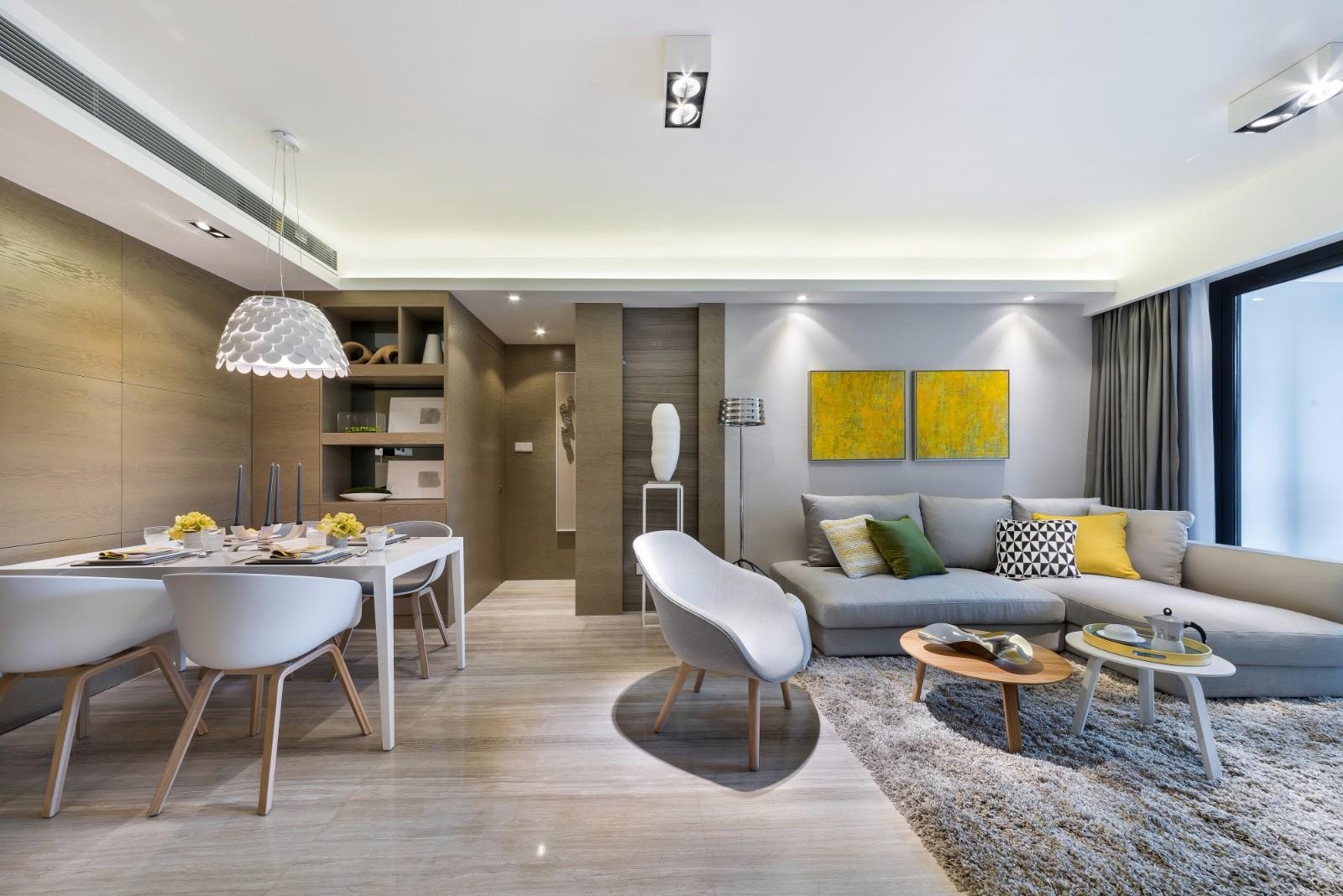 三居室120平米简约风格客厅地砖效果图