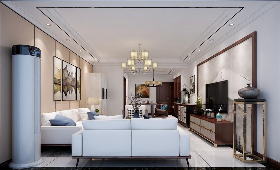 元森北新时代151平新中式风格四居室效果图