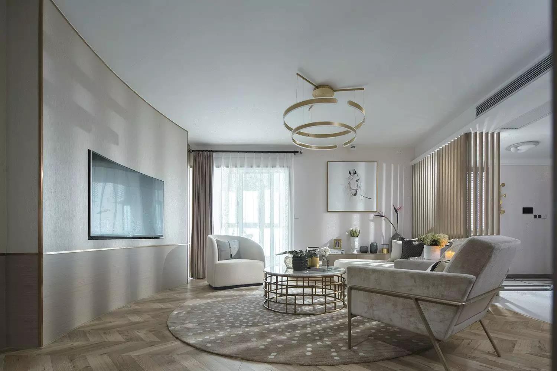 150平现代轻奢大户型客厅背景墙装修效果图