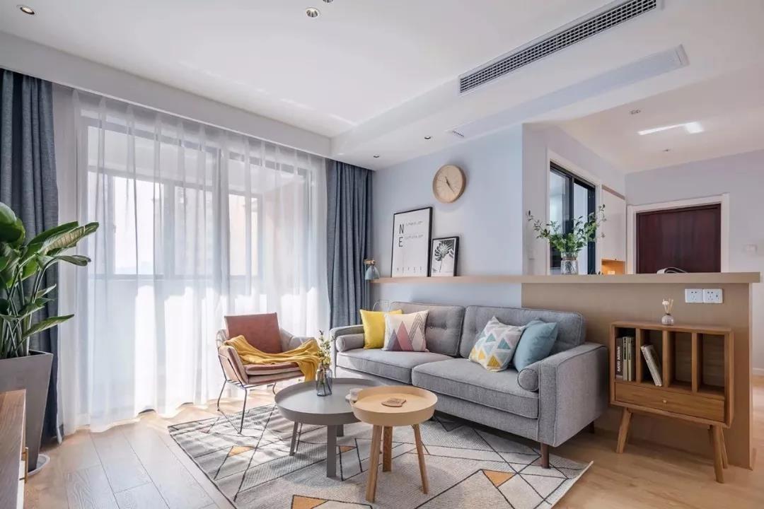 100㎡清新北欧3室2厅温馨舒适实景图