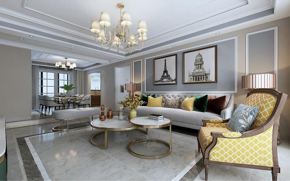 120平美式風格三室兩廳戶型效果圖