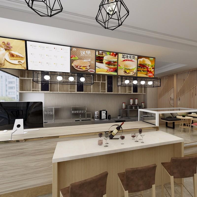 湖濱商業街100平日式風格咖啡店裝修效果圖