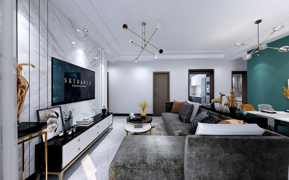 國賓壹號120㎡現代輕奢三居室客廳裝修效果圖