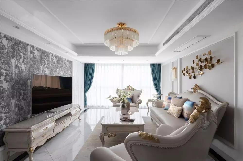 悅湖城141平簡歐二居室裝飾效果圖