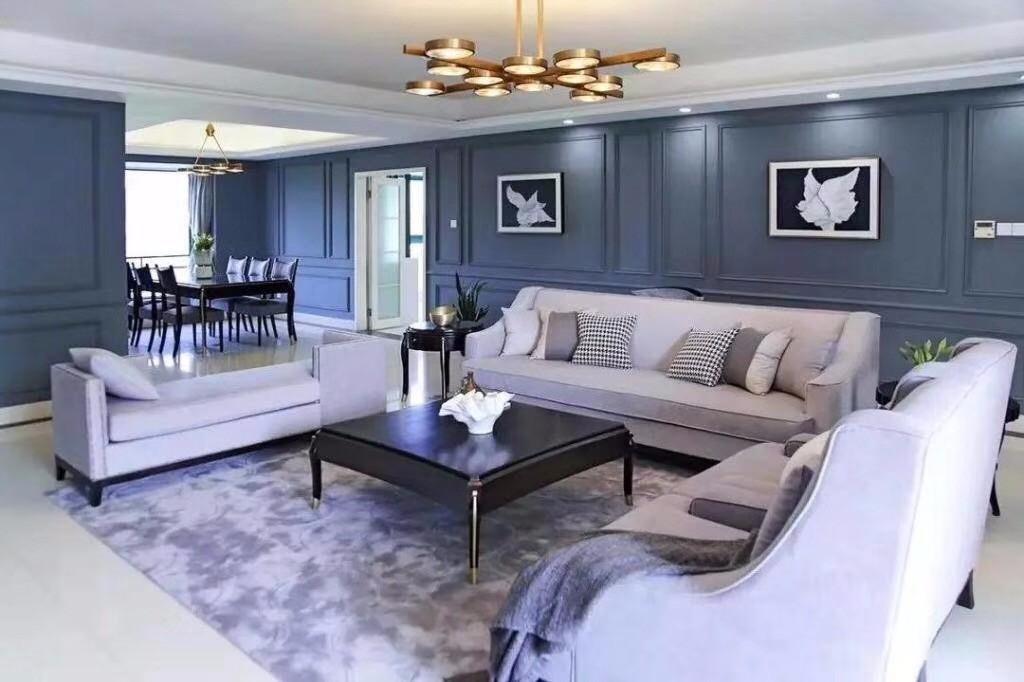 蔚蓝之家金色丽都三居室146平米法式蓝色调效果图