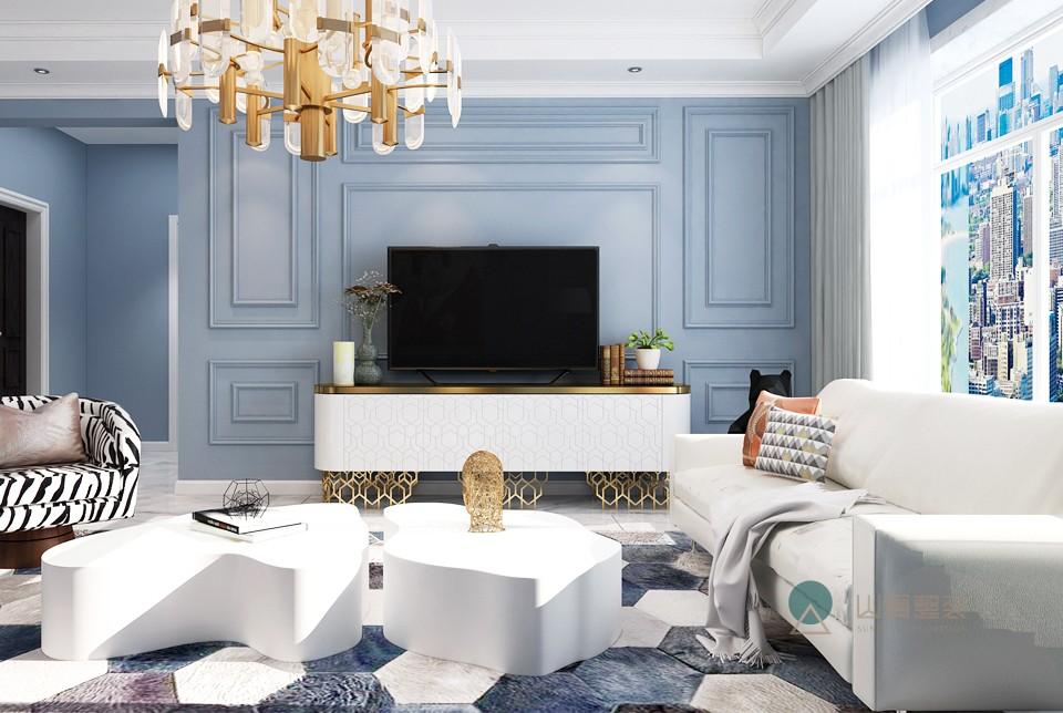 128㎡美式风格三居室设计效果图