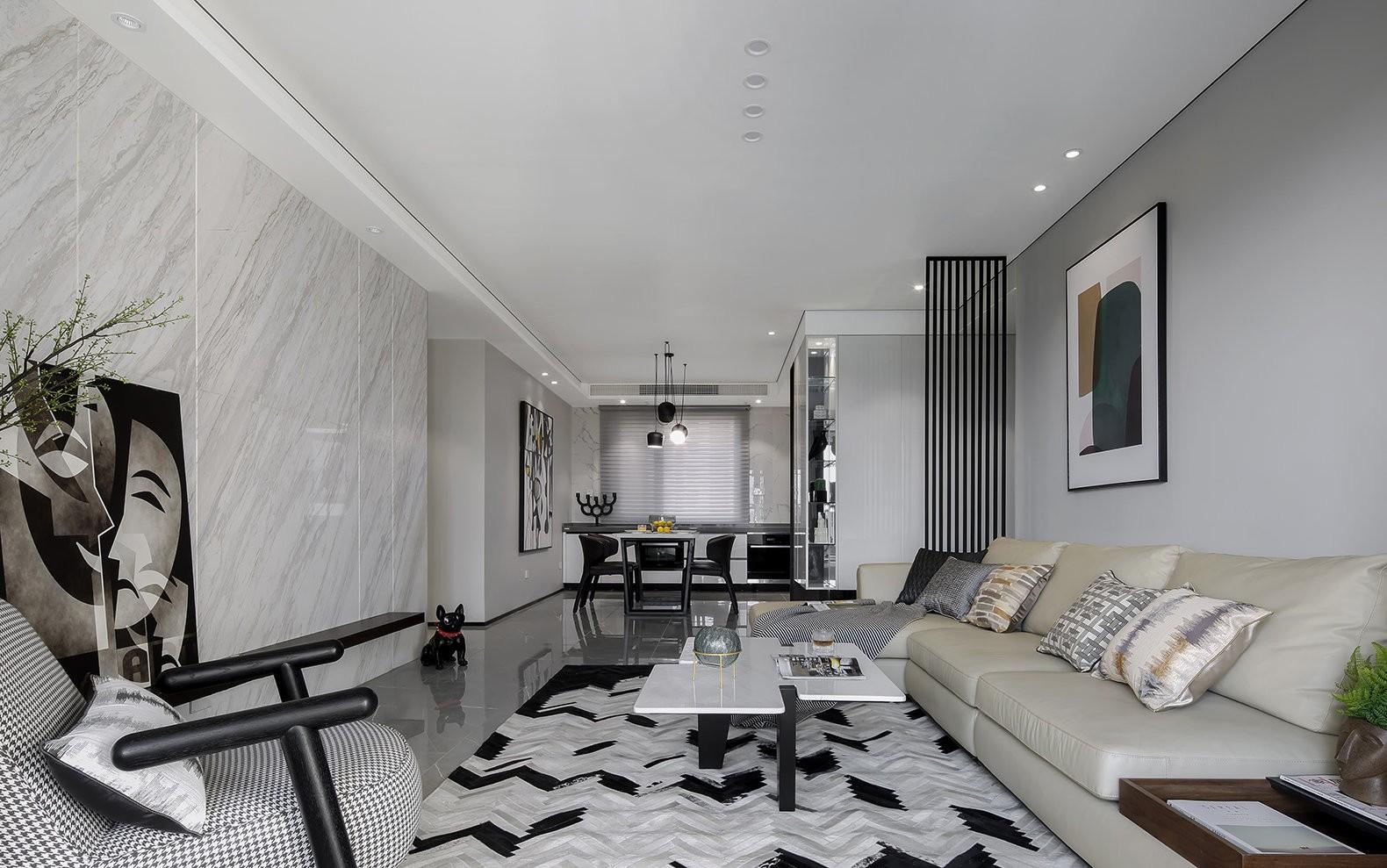 现代风格三房一厅户型100平米装修效果图