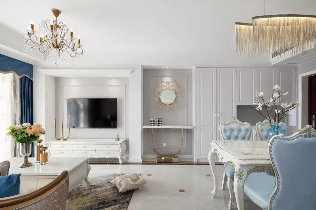 2020法式客厅装修设计 2020法式走廊装修效果图大全