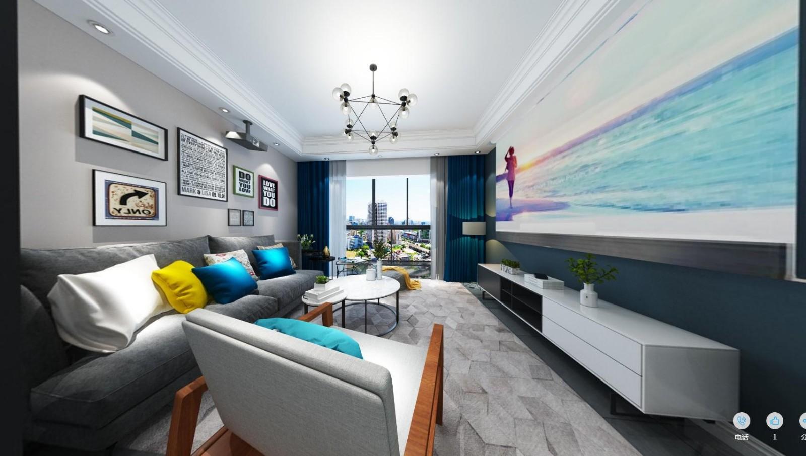 古泉新村117m²三居室简约风格效果图