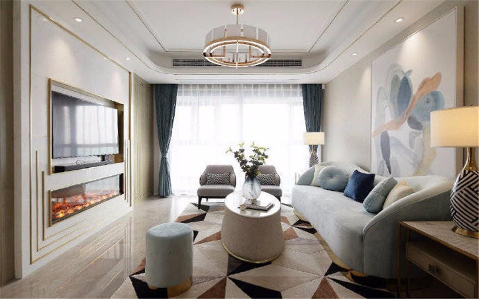 140平米现代轻奢三室一厅效果图