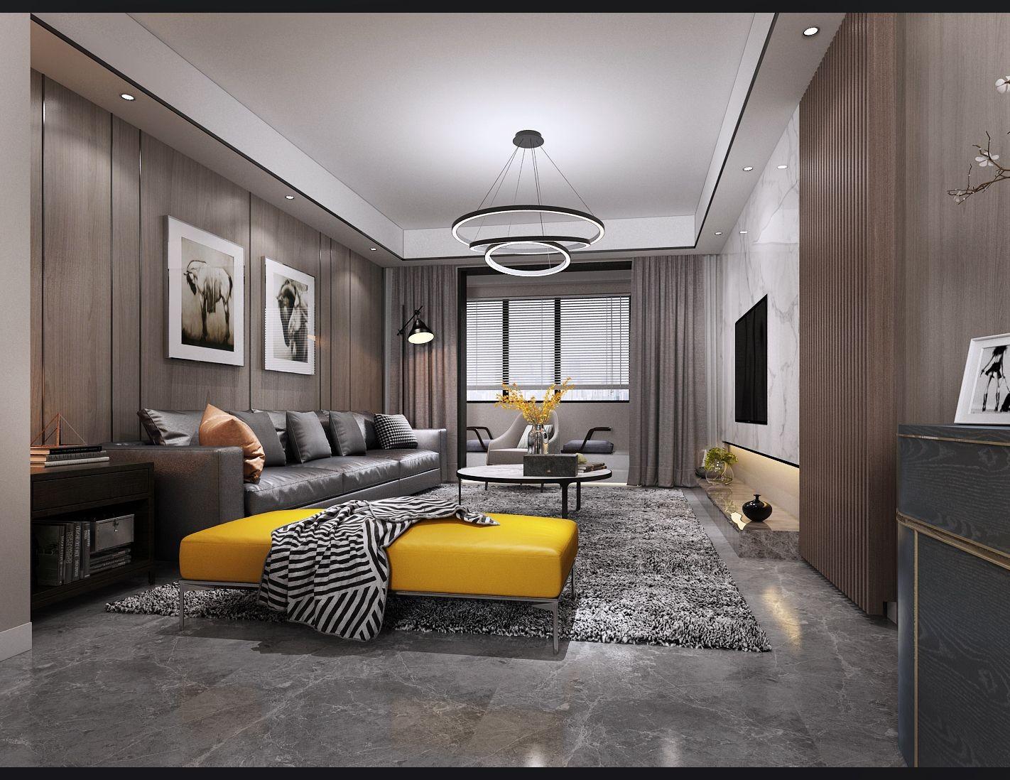 125平轻奢风格三居两厅效果图