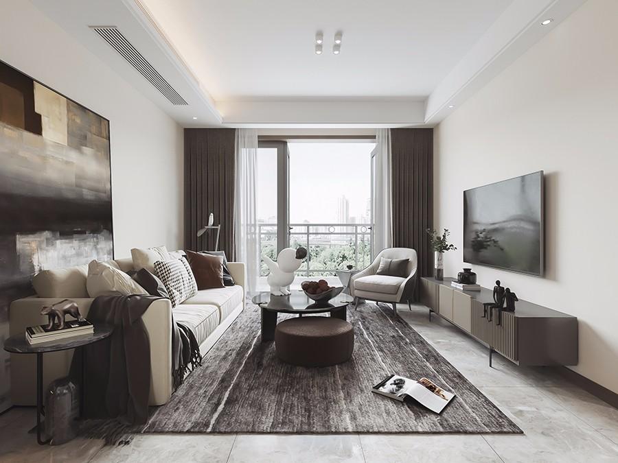 85㎡现代风格二居室装修效果图