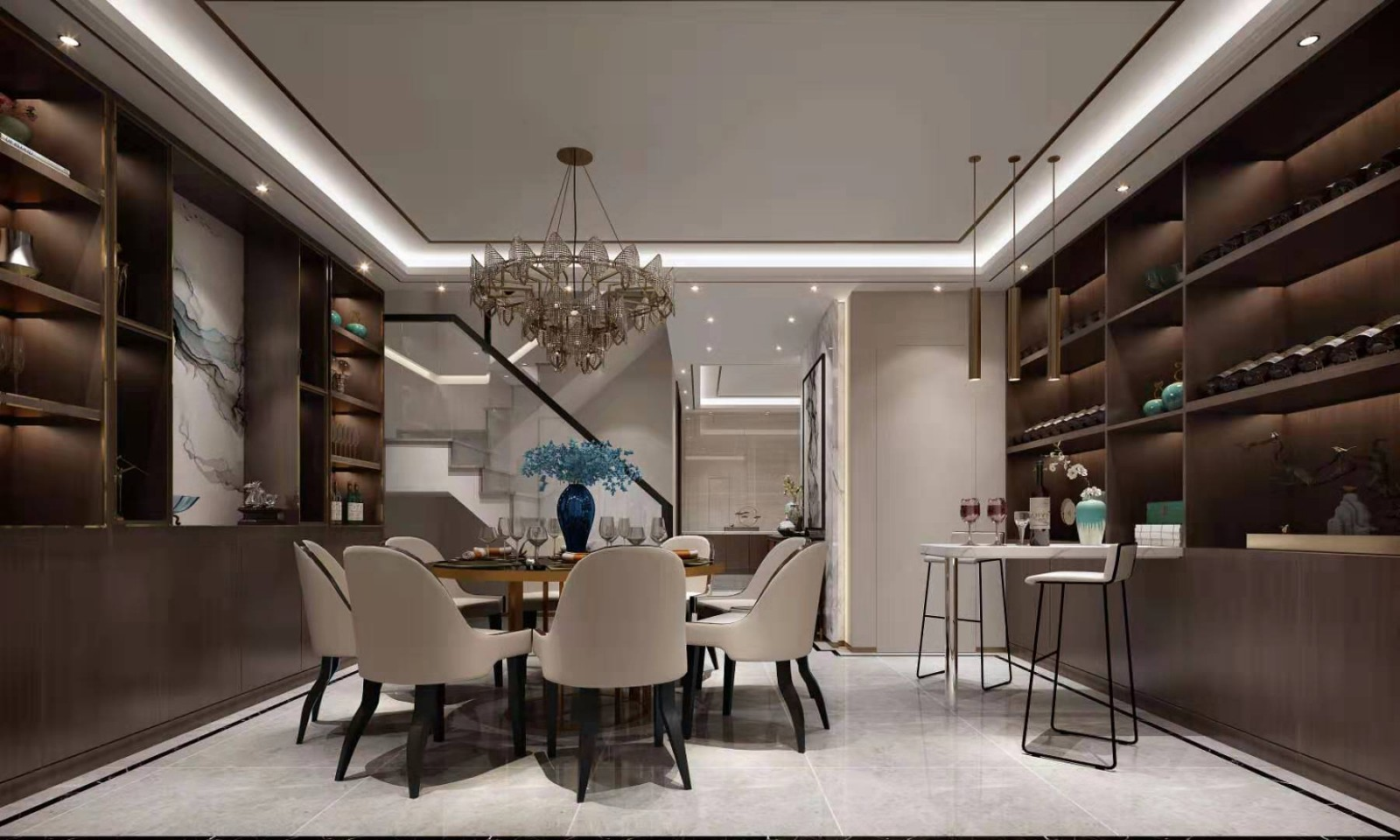2020新中式餐厅效果图 2020新中式酒窖装饰设计