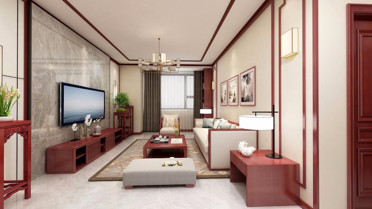 2019新中式客厅装修设计 2019新中式过道图片