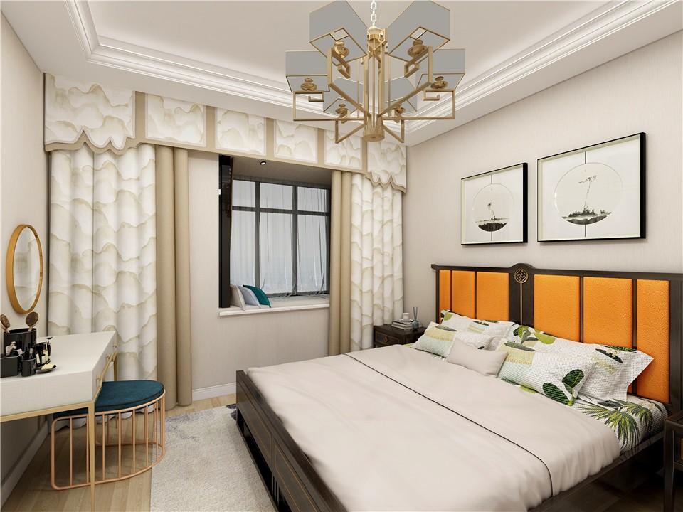 2019新中式卧室装修设计图片 2019新中式窗帘装修设计图片