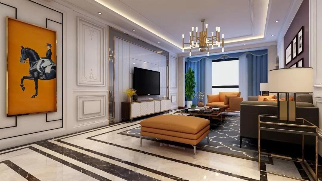 2019现代客厅装修设计 2019现代地砖装修效果图大全
