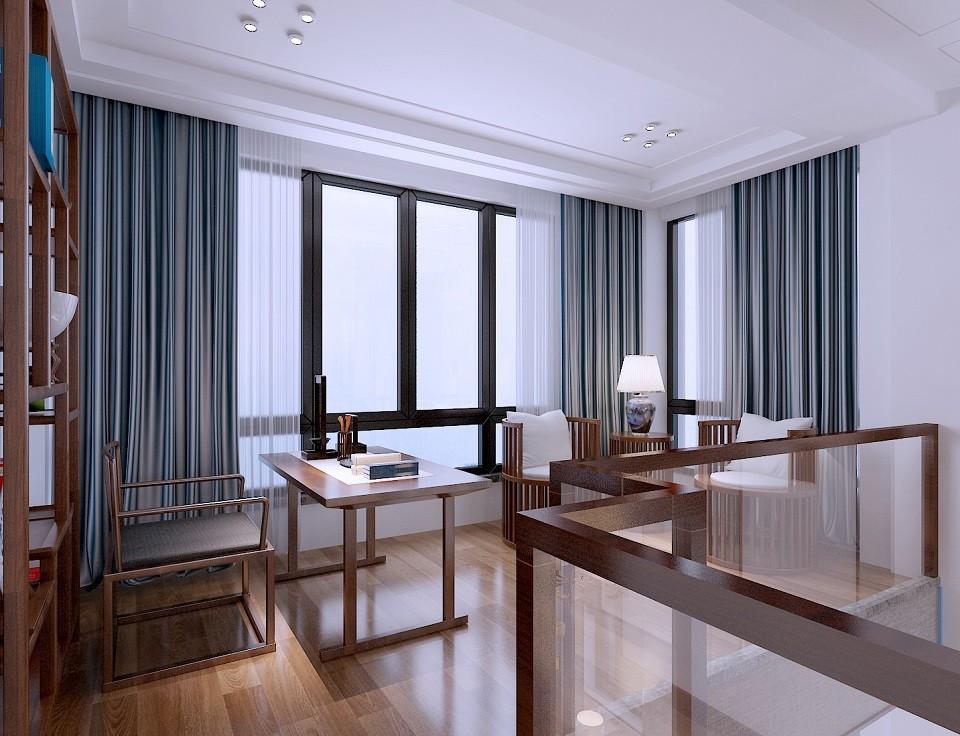 2019新中式书房装修设计 2019新中式窗帘设计图片