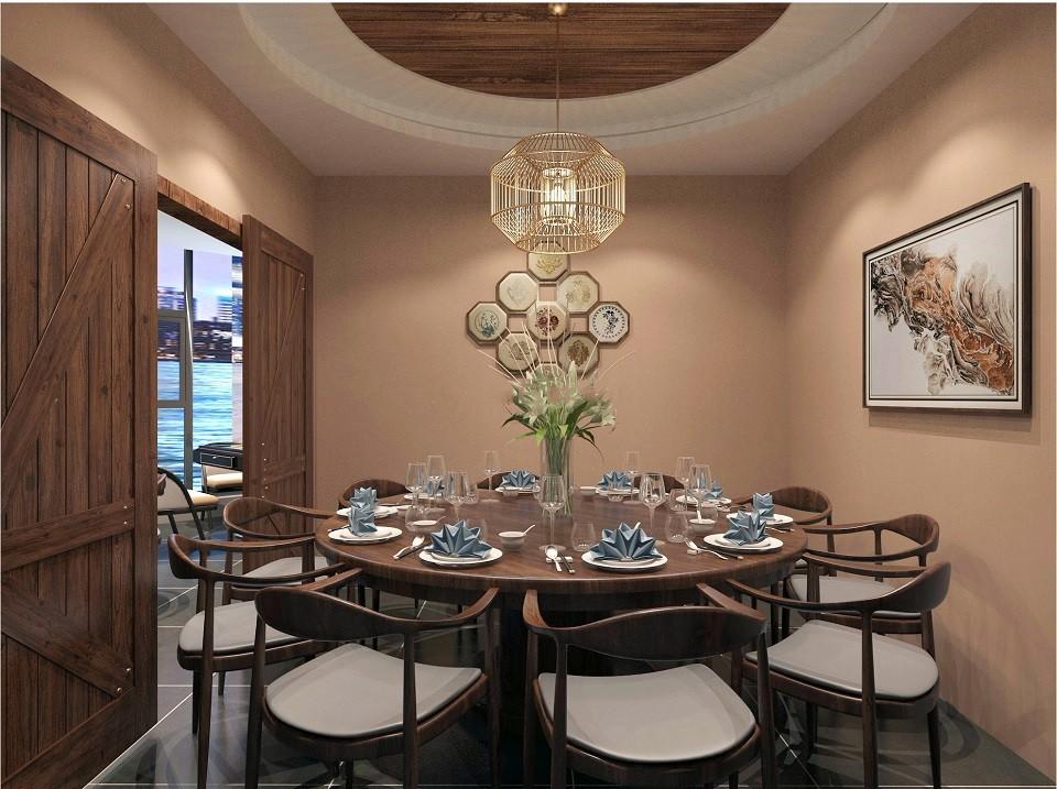2020现代中式餐厅效果图 2020现代中式吊顶装修图片