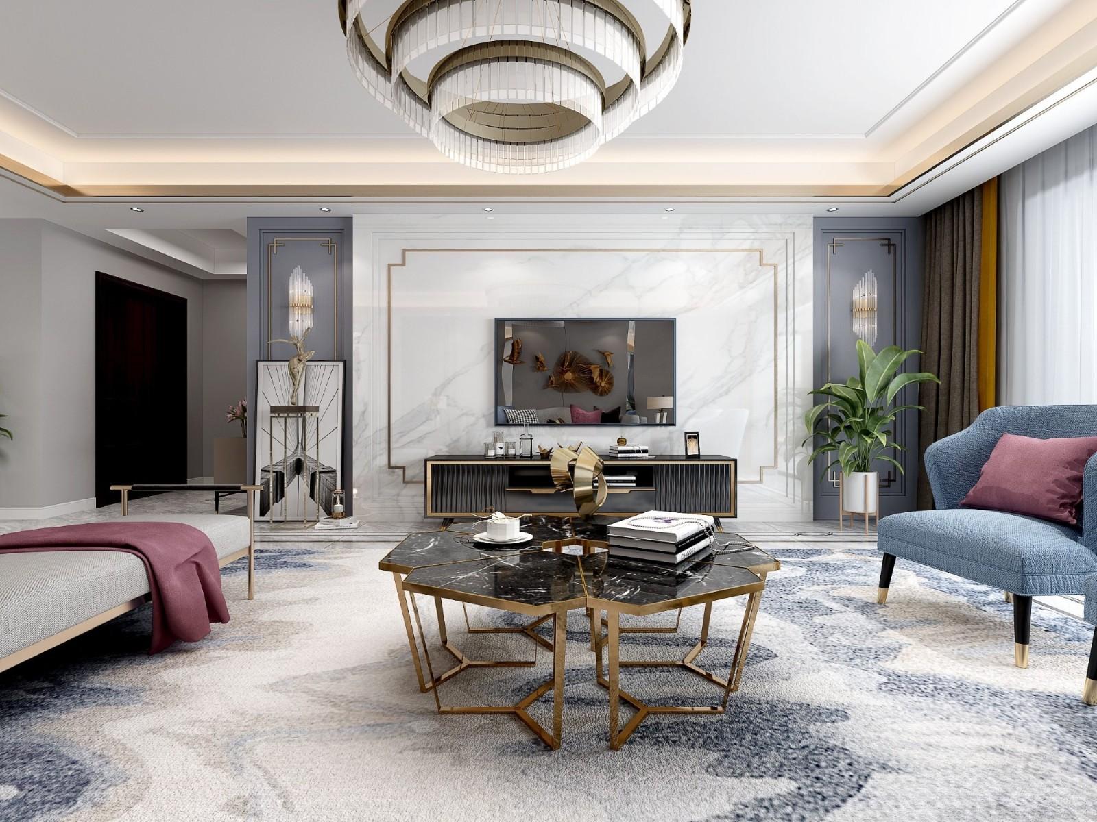 2020現代客廳裝修設計 2020現代茶幾效果圖