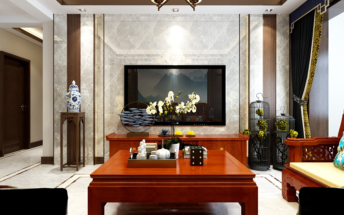 3室1卫1厅120平米中式风格