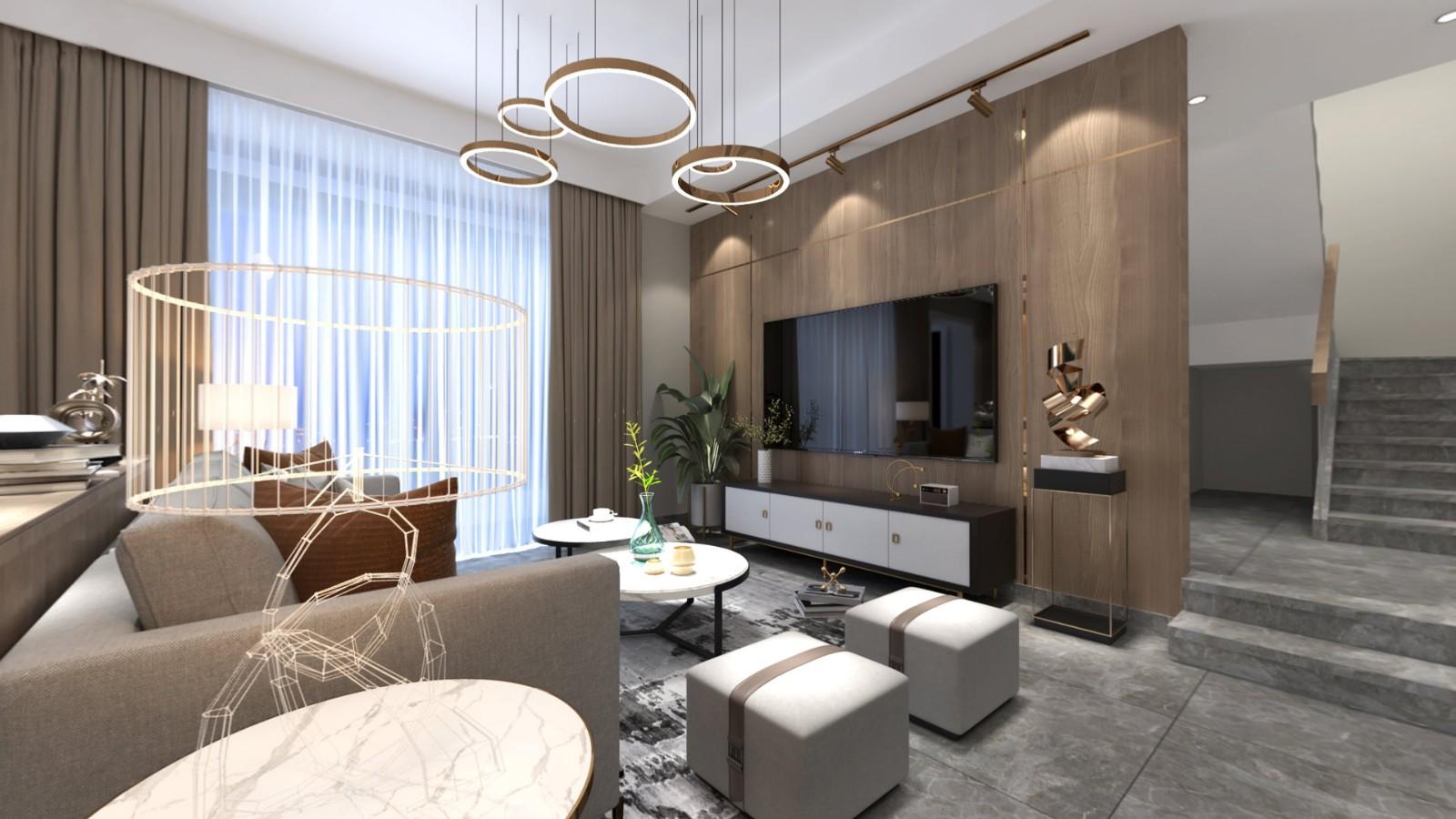 2020現代客廳裝修設計 2020現代電視柜裝修效果圖片
