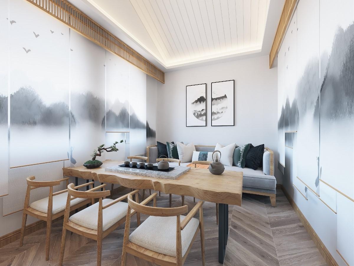 2019新中式陽光房設計圖片 2019新中式背景墻裝修設計圖片